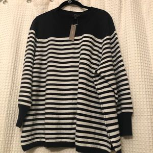 JCREW Cashmere Navy/White striped sweater Size 3X
